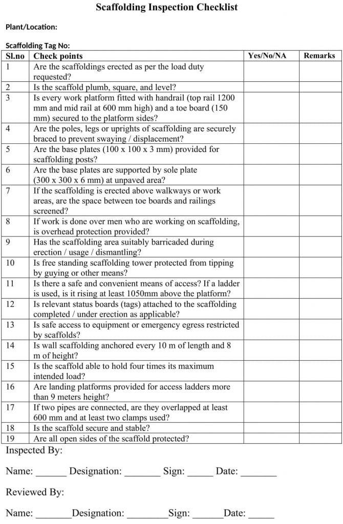 Scaffolding-Inspection-checklist