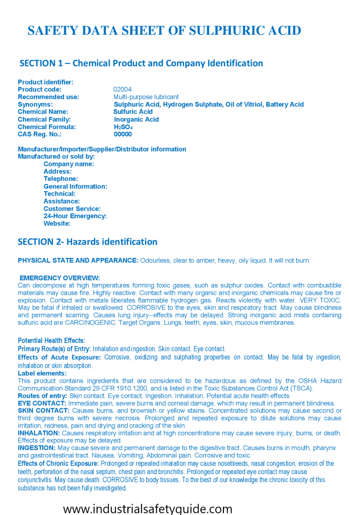 Example of sulphuricacid safety data sheet